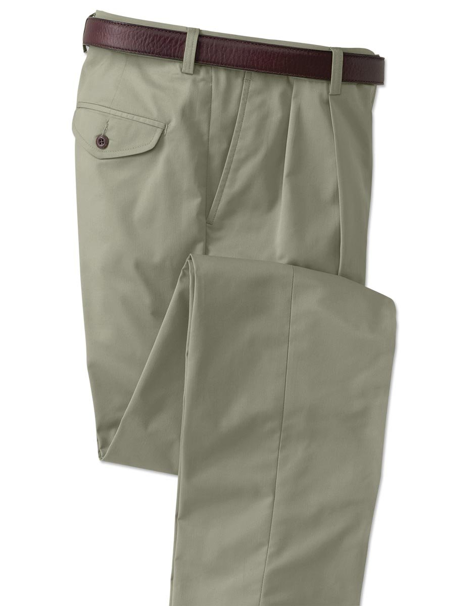 Orvis Men's World's Most Comfortable Cotton-blend Chinos - Pleated Front, Silver Sage, Cuffed, 36W X 30 1/4L