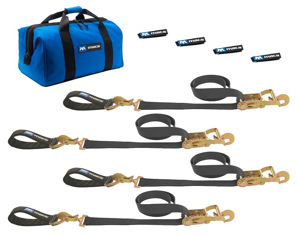 Mac's Tie-Downs 511218 Black Ultra Pack with 8' x 2'' Direct Hook Ratchet Straps and 24'' Axle Straps