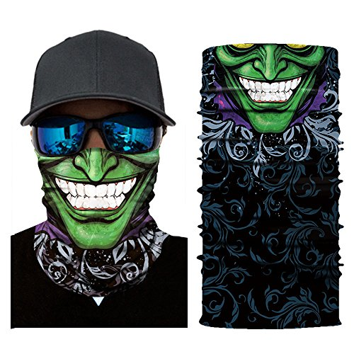 OWMEOT Men Women Headwear, Skull Face Mask, Magic Scarf, Neck Gaiter, Bandana, Balaclava, Headband for Cycling, Motorcycling, Running, Skateboarding, Moisture Wicking UV Protection (H)