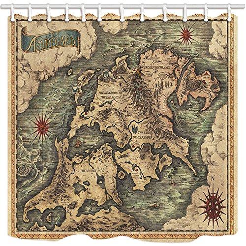 treasure map shower curtain - 8