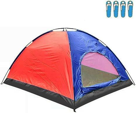 hyu Tienda de Campaña para 4 Personas Impermeable Acampar Camping Carpa Tipo IGLU Azul-Rojo: Amazon.es: Deportes y aire libre