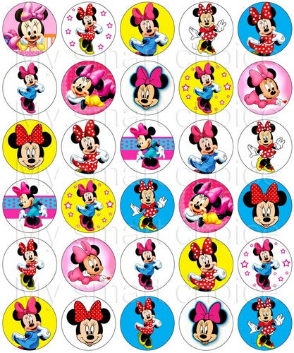30 x Edible Cupcake Toppers - Disney's Minnie