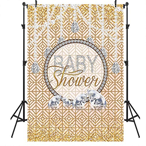 Mocsicka Diamonds and Pearls Baby Shower Theme Backdrop Diamond Decoration Background Golden Light Spot Backdrops 5x7ft Vinyl Newborn Baby Photography Background