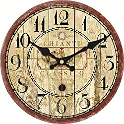 MEISTAR 16 Inch Wall Clock Quiet Non-Ticking Silent Wood Wall Clock Arabic Numerals Decor Bar coffee shop(Winery)