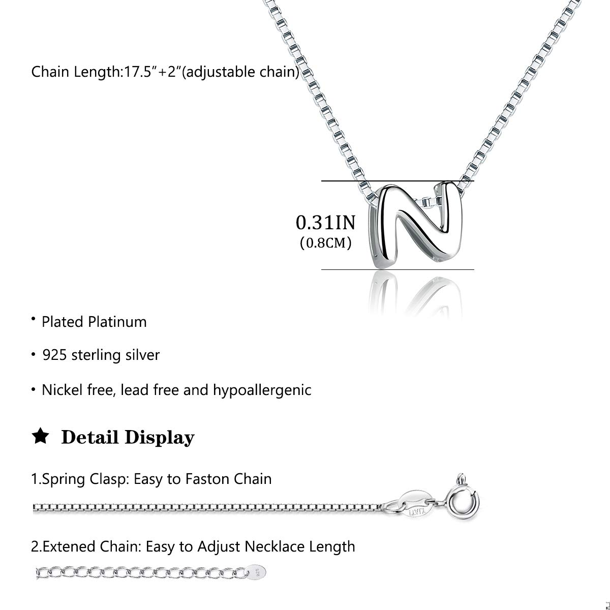 SIMPLOVE 925 Sterling Silver A-Z Letter Initial Dangle Pendant Necklace Personalized DIY Tiny Dainty Alphabet Name Jewelry for Women Girlfriend Gift