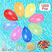 Tuptoel 1000 Pack Water Balloons with Refill Kits, Eco-Friendly Latex Water Bomb Balloons for Party Games - Su