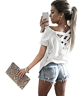 551ab261b2469 Yingkis Women s Cut Out Loose Pullover Criss Cross Backless Sweater Shirt  Top