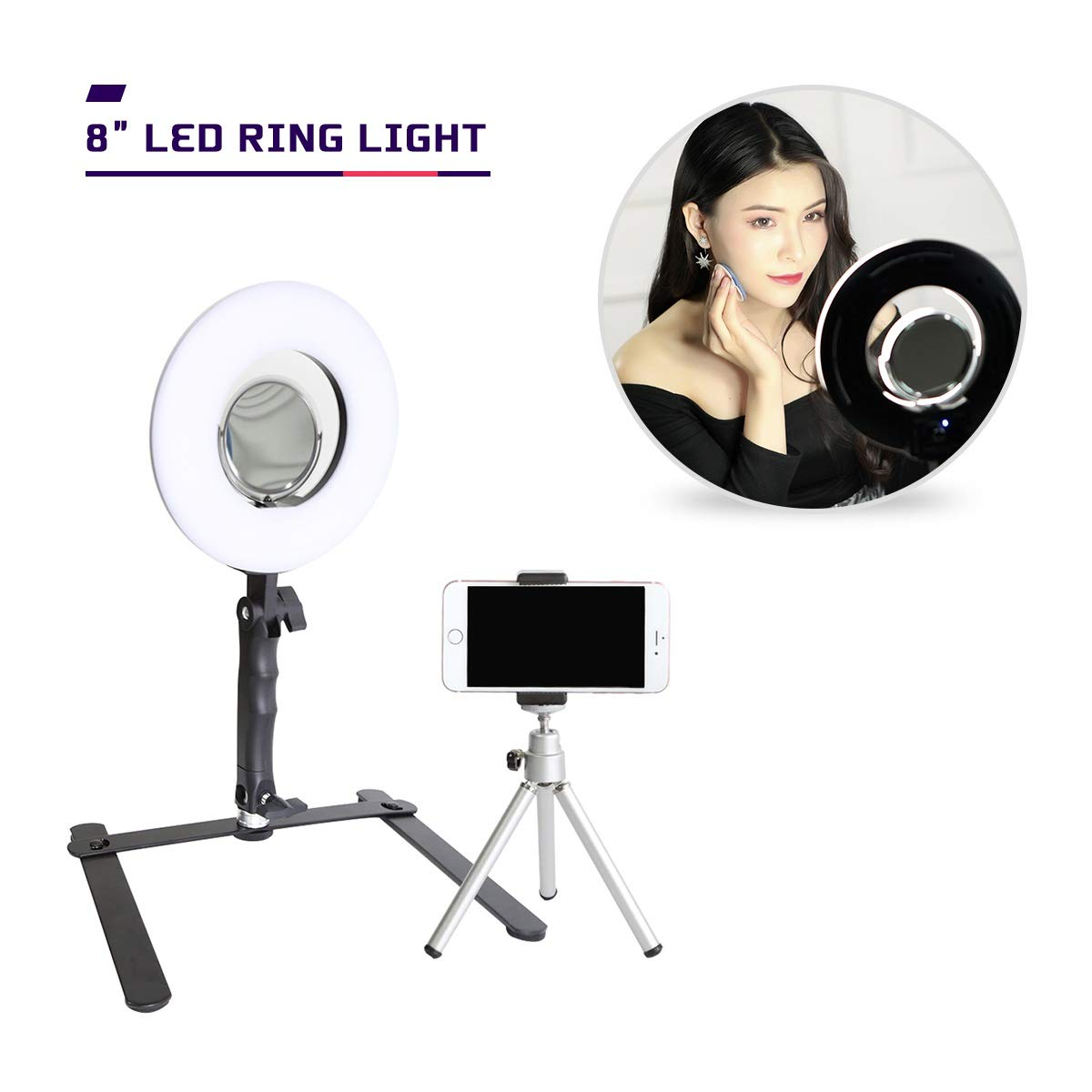 8'' Selfie Ring Light with Stand Mirror and Cell Phone Holder for Makeup YouTube Videos Live Stream, Mini LED Camera Ringlight for Vine Portrait Photography
