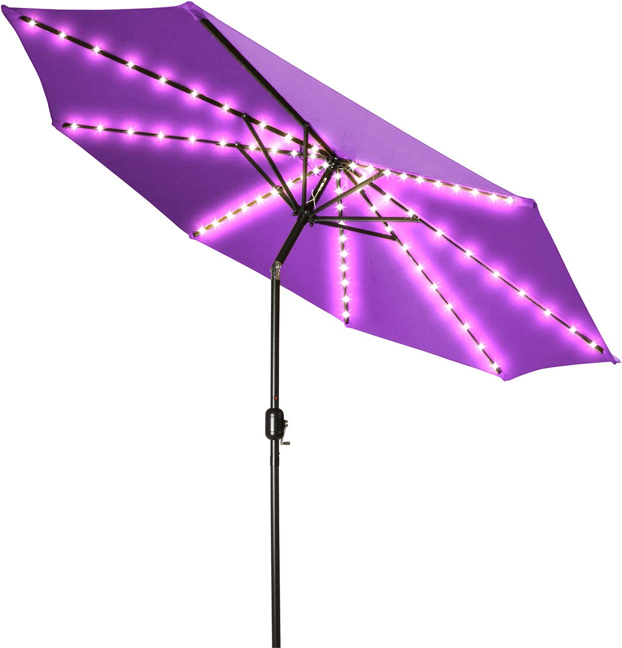 Trademark Innovations Ultra Bright Deluxe Solar Powered LED Lighted Patio Umbrella – 8.8 Purple