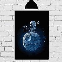Placa Decorativa Mdf star wars darth on the moon 20cmx30cm