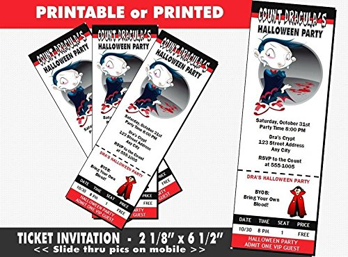 Vampire Cartoon Halloween Party Ticket Invitation, Printable or Printed Option