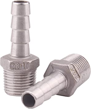 "SS304 5//8/"" Hose Barb to 1/"" Male NPT Home Brew Fitting Water Fuel Air"