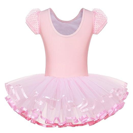 cf8082109 Amazon.com  BAOHULU Girls Leotards Dance Skirted Short Sleeve ...