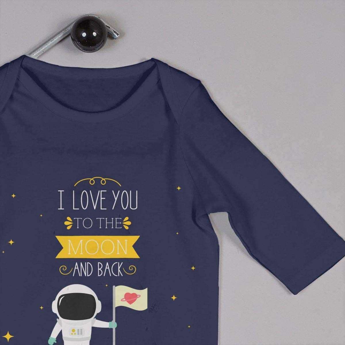 Baby Boy Girl Round Neck Long Sleeve Solid Color Romper I Love You to The Moon and Back with Astronaut and Flag Crawling Suit