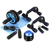 TOMSHOO 5-in-1 Ab Workout Set - Ab Wheel Roller Push-Up Bar + Hand Gripper Jump Rope +Knee Pad for Perfect Daily Home…