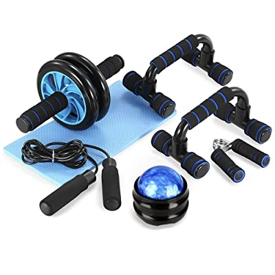 6-in-1 Ab Roller Kit with Knee Pad Resistance Band EnterSports Ab Roller Wheel