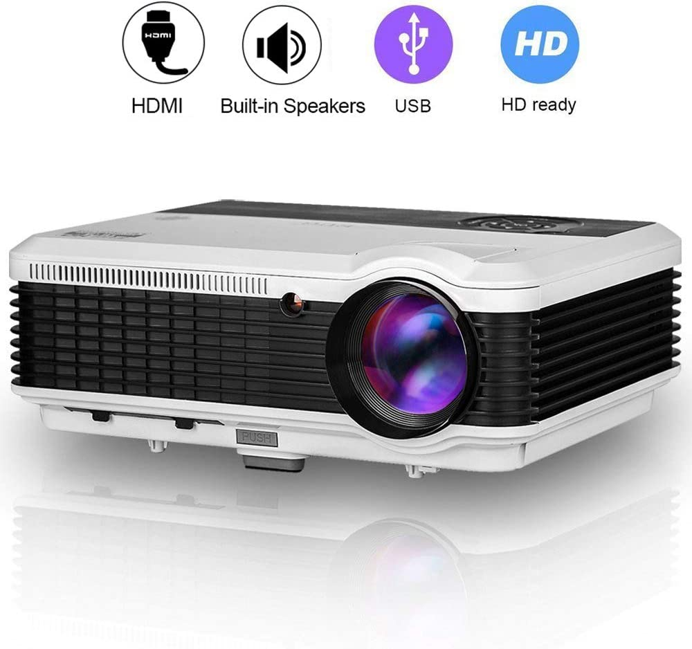 ZCGIOBN LCD LED Multimedia Movie Projectors 4600 luemn High Definition 1080P HD Home Theater Cinema Projector Compatible with TV Stick Game Console DVD Player Computer,Built-in Speakers