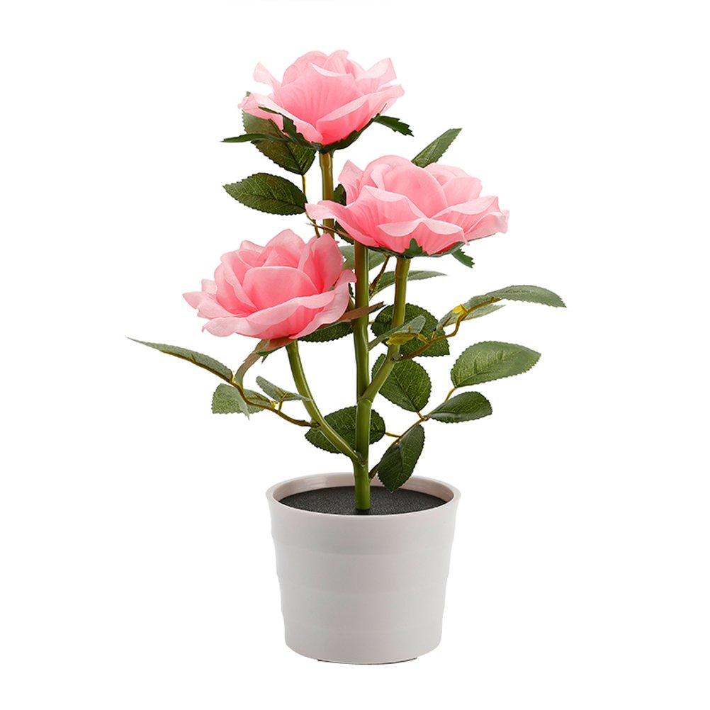 LEDMOMO Solar Flower Pot LED light Rose Flower Table Lamp 3 Lights Flower LED Flexible Flower Desk Lamp for Home Garden Room Decoration (Pink)