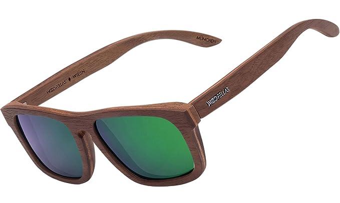 Wood Fellas Unisex Madera de gafas de sol Wiesn Braun/Grün ...