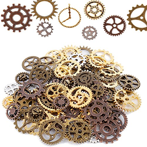 Teenitor Mixed Color 100 Gram (Approx 70pcs) Assorted Antique Steampunk Gears Charms Pendant Clock Watch Wheel Gear for Crafting, Jewelry Making Accessory