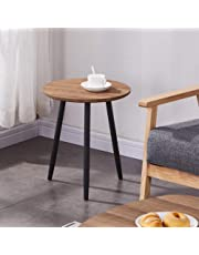 GOLDFAN Wooden Small Round Side Table Modern Sofa Lamp Tea End Tables Coffee Table for Living Room Home Office, Brown