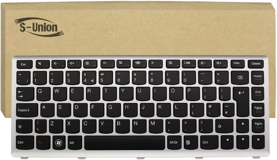 S-Union New Black Laptop UK Keyboard for Lenovo//IBM IdeaPad U410 Series Replacement Part Number 25203730 AELZ8E00110