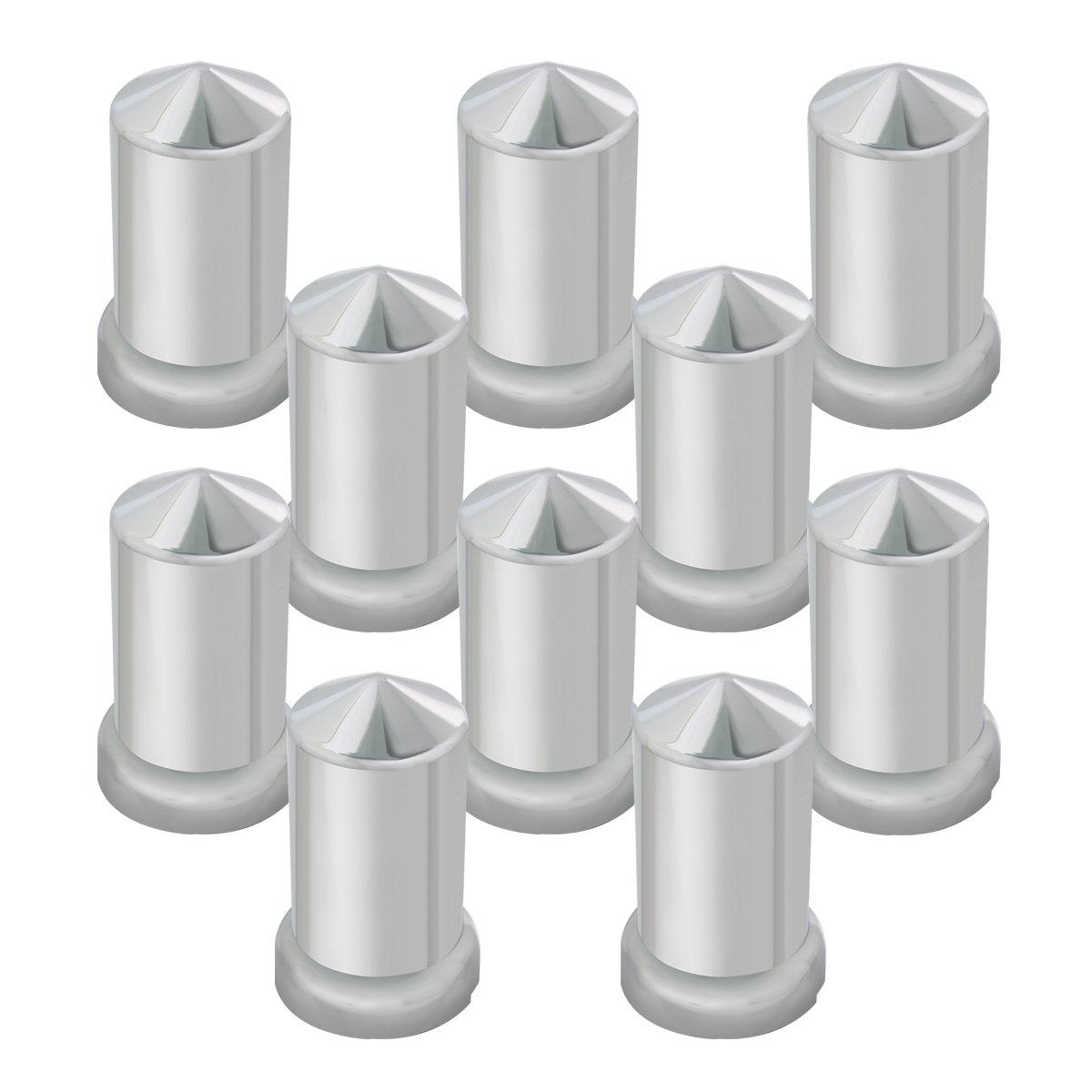 Grand General 10269SP Chrome 33mm x 3-1/8'' Plastic Pointed Push-On Nut Cover with Flange