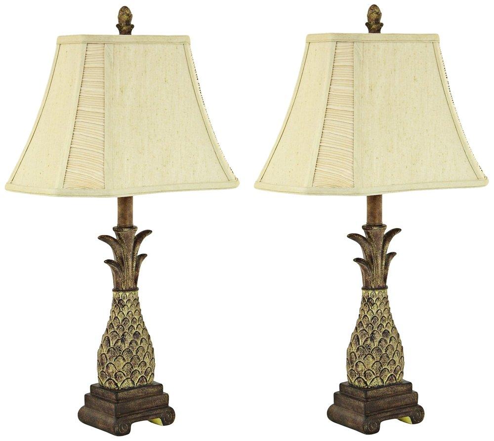 Amazon.com: Aspire Shawn Pineapple Table Lamp (Set Of 2), Brown: Home U0026  Kitchen
