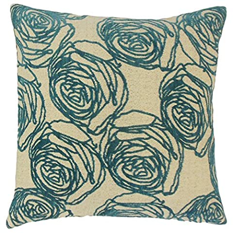 The Pillow Collection Ilaria Floral 22-inch Down Feather Throw Pillow Teal - Ilaria Collection