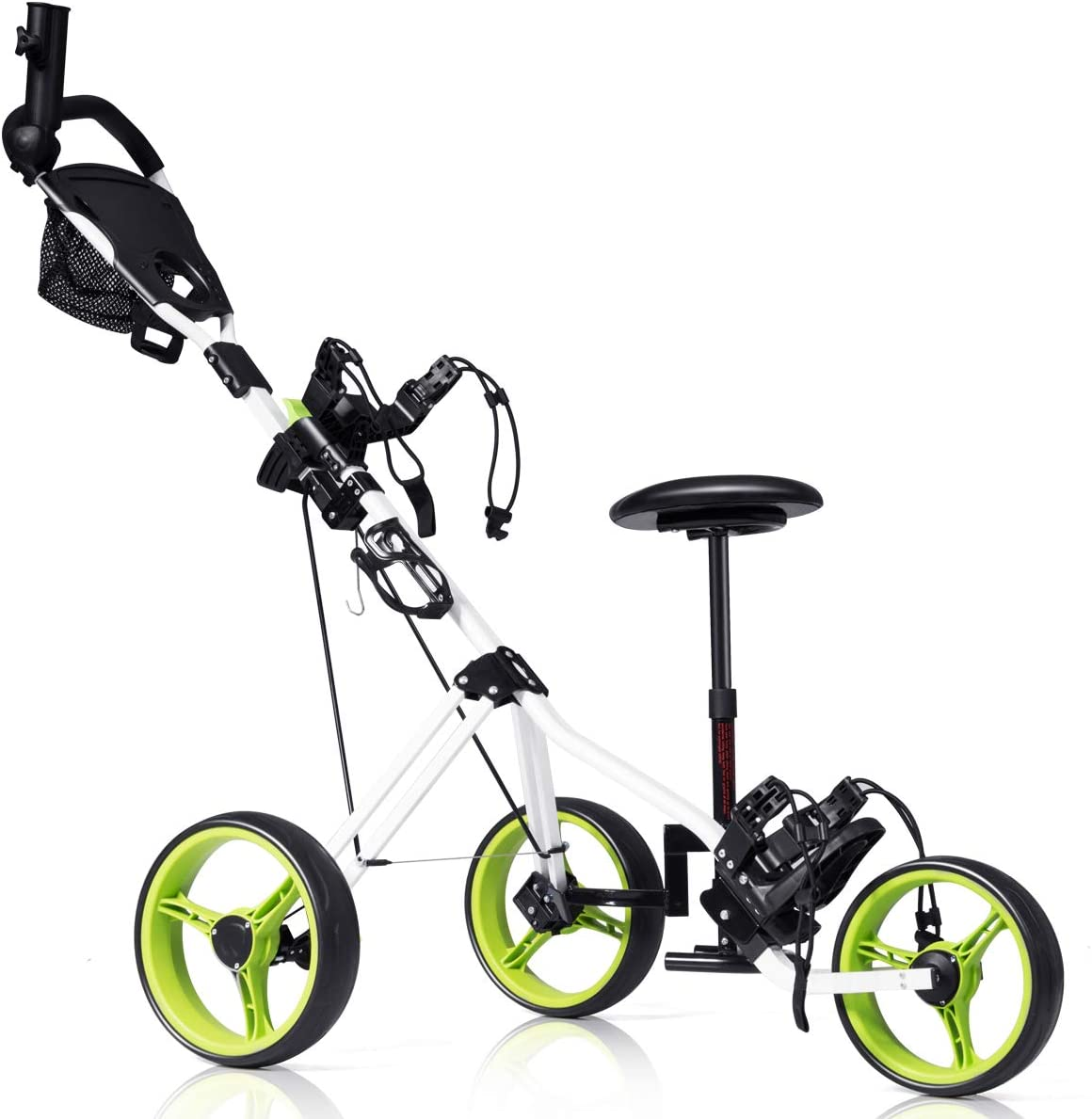 Tangkula Golf PushCart Swivel Foldable 3 Wheel Push Pull Cart Golf Trolley
