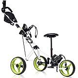 Tangkula Golf Push Cart, Foldable 3 Wheels Push Pull Cart, Lockable Golf Trolley with Seat Scoreboard Bag,Golf Push Cart