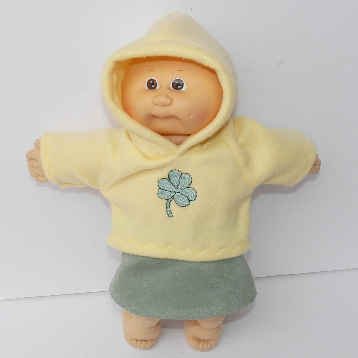 Cabbage Patch Doll Clothes 14 Inch or Preemie Size Yellow Shamrock Sweatshirt and Skirt Clothes Only