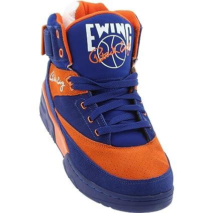 Patrick Ewing 33 HI Zapatillas Sneakers Cuero Gamuza Azul Naranja para Hombre Baloncesto