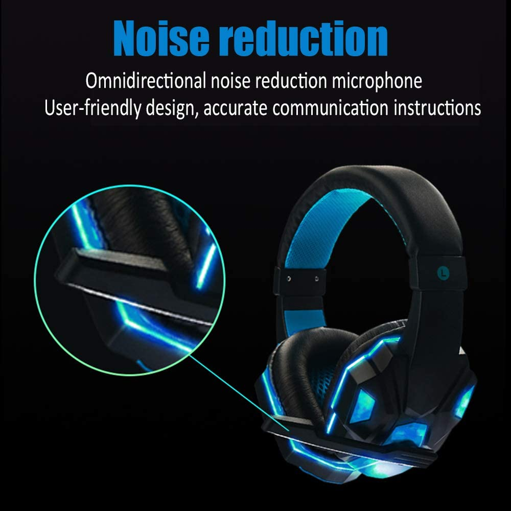 DZSF Gaming Headset,3.5MM Jack Stereo Bass Surround Noise Isolation Gaming Headphone with Mic/&Control Switch,Red