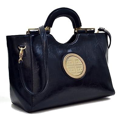 Amazon.com  Dasein Fashion Loop Handle Logo Tote Satchel Purse Handbag w Removable  Shoulder Strap Black1  Shoes d3e9f8ef5332d