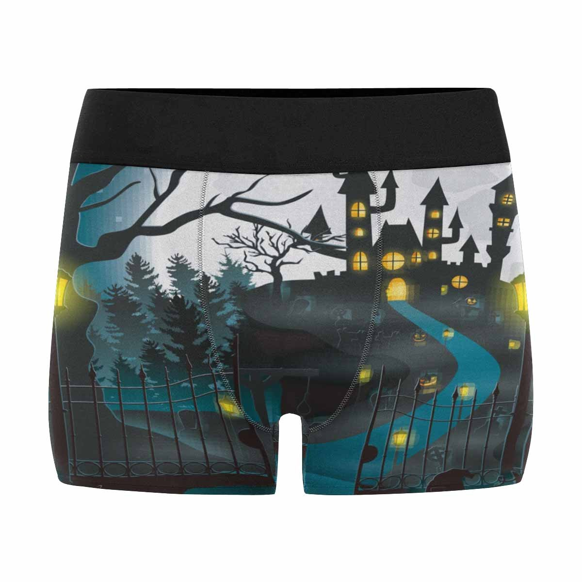 INTERESTPRINT Custom Mens All-Over Print Boxer Briefs Cartoon Halloween Background with Castle and Pumpkin XS-3XL