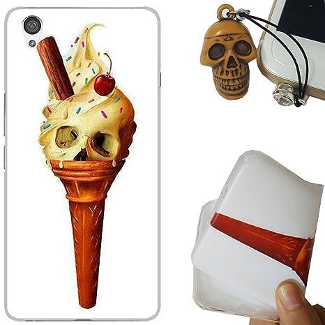 Rockconcept OnePlus X Funda, Serie del cráneo Diseño [Con Gratis Tapón de Polvo] Protectiva Carcasa de Silicona Gel TPU Funda Cover Carcasa Case Cover ...