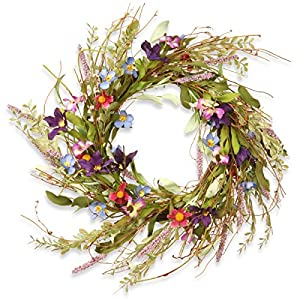 National Tree 20 Inch Floral Branch Wreath with Blue, Purple and Pink Mixed Flowers (RAS-S7742W) 2