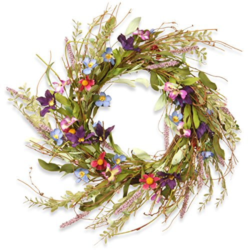National Tree 20 Inch Floral Branch Wreath with Blue, Purple and Pink Mixed Flowers (RAS-S7742W)