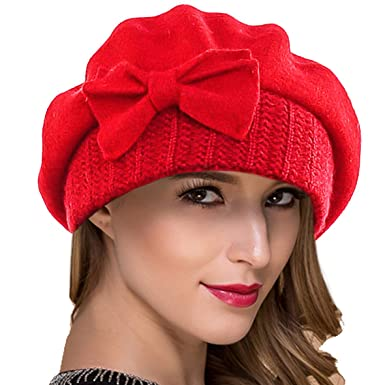 Women French Beret - 100% Wool Beret Knit Beanie Winter Dress Hat Hy022 (Red 261a4d7d6be4