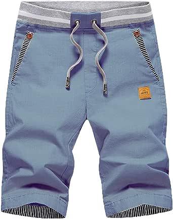 ZOXOZ Pantalones Cortos Hombre Algodon Verano Shorts Bolsillos