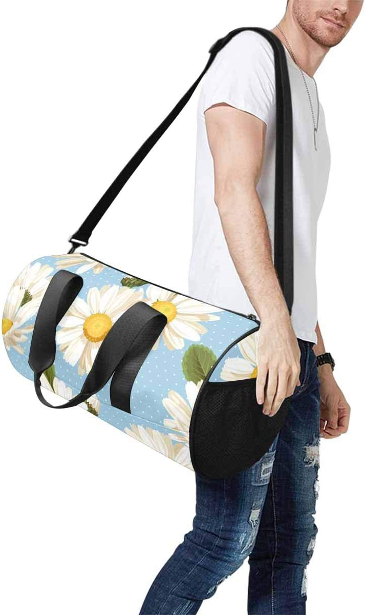 INTERESTPRINT Camomile Flowers and Polka Dot Adults Travel Tote Duffel Bag Carry on