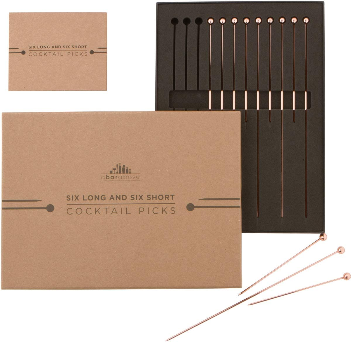 """Copper Cocktail Picks – Combo Pack 12pc (4"""" & 8"""