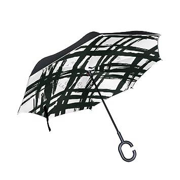 Paraguas invertido doble capa vintage negro y blanco rayas reverso paraguas para coche lluvia