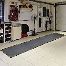 Just Suk It Up™ Absorbent Garage Mat with Border and Grid, Grey, 32x60""