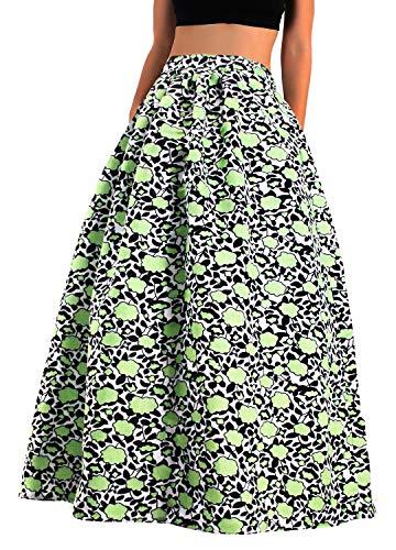 Hoohu Womens Bohemian African Floral Print High Waist Pleated Hem Full/Ankle Length Long Maxi Swing Skirt Dress Green