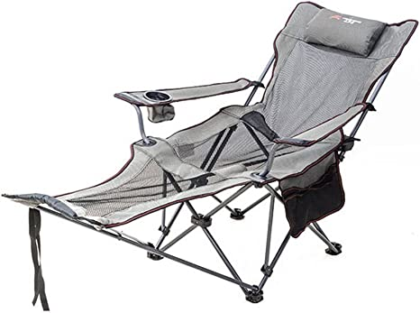 Hm Dx Outdoor Folding Chairs Camping Chairs Reclining Footrest Adjustable Back Cup Holder Foldable Recliner Fishing Chair Hiking Beach Garden Grey Amazon Co Uk Sports Outdoors