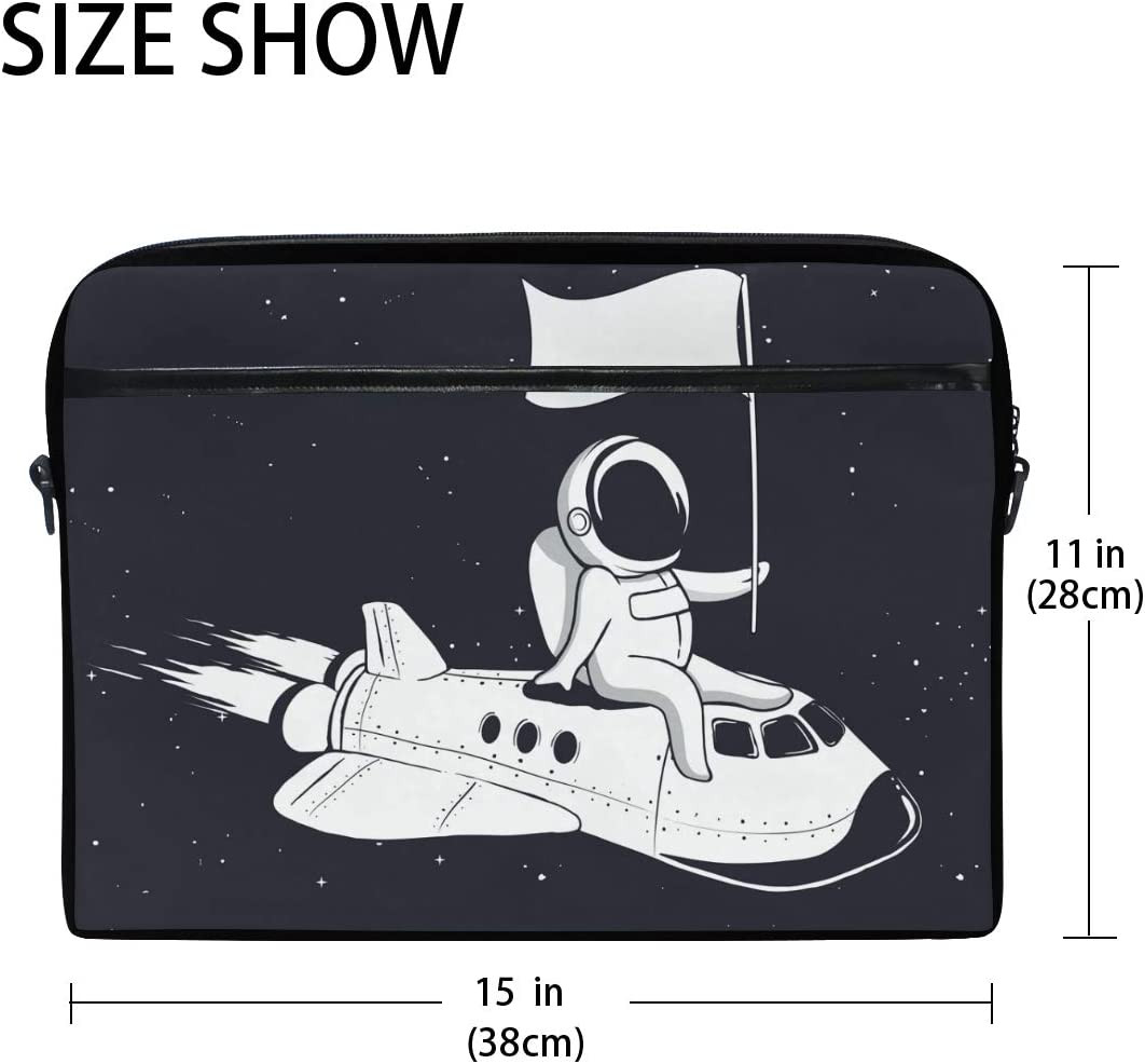 Galaxy Rocket Astronaur Laptop Shoulder Messenger Bag Computer Briefcase Business Notebook Sleeve Cover Carrying Handle Bag for 14 inch to 15.4 inch