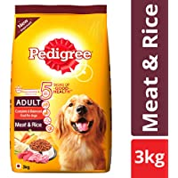 Pedigree Adult Dry Dog Food, Meat & Rice – 3 kg Pack