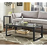 WE Furniture AZ48UBGLAG Wood Metal Side Driftwood, 48 Coffee Table